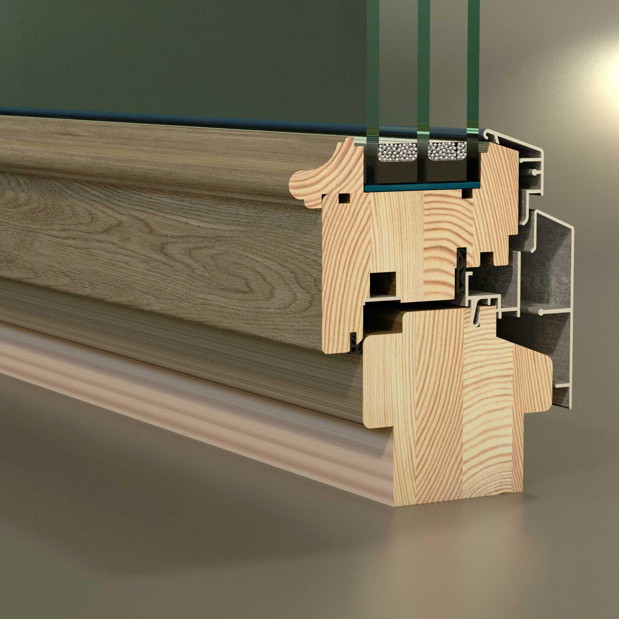 3Д модель профиль деревянного окна