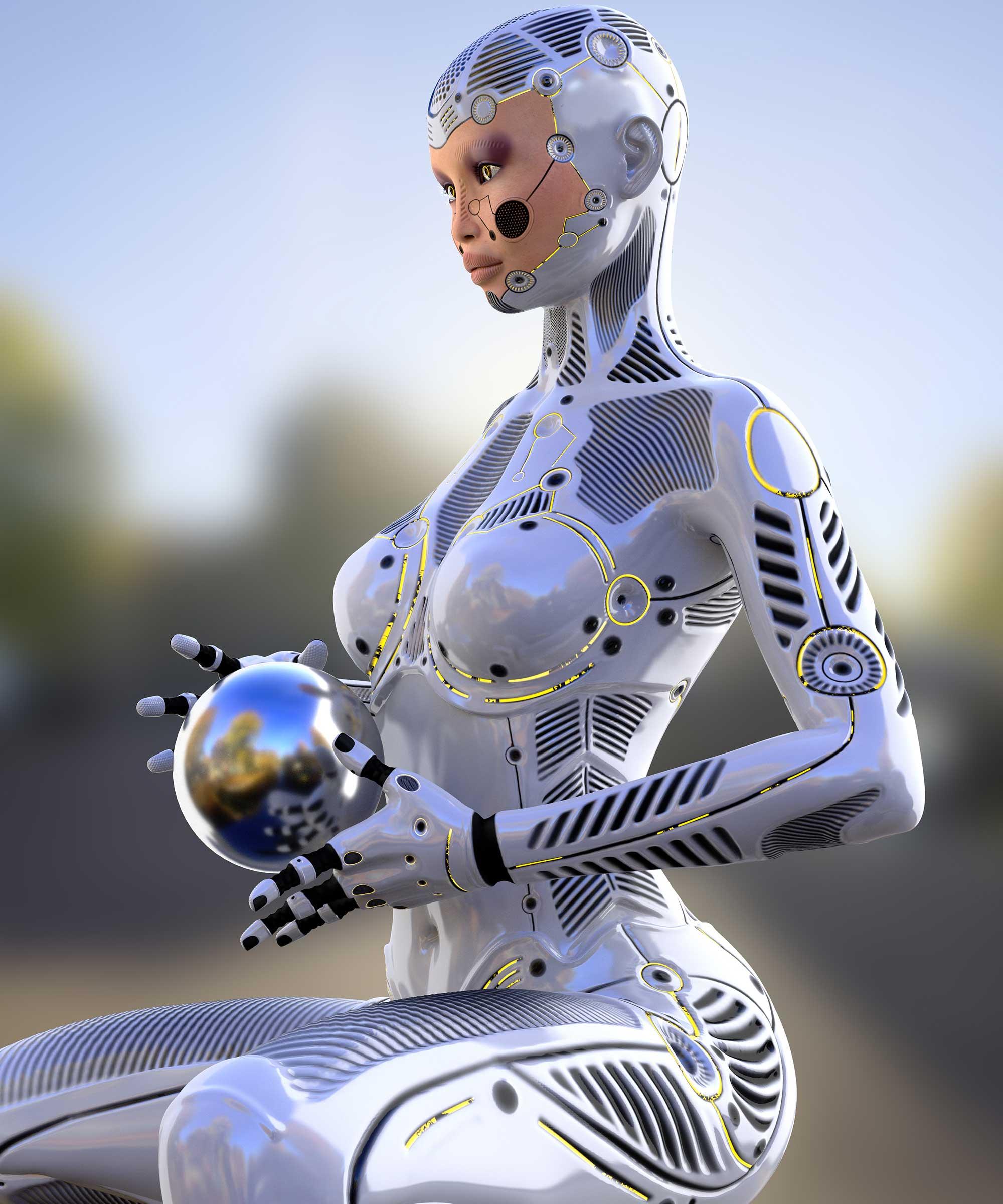3Д модель женщина дроид