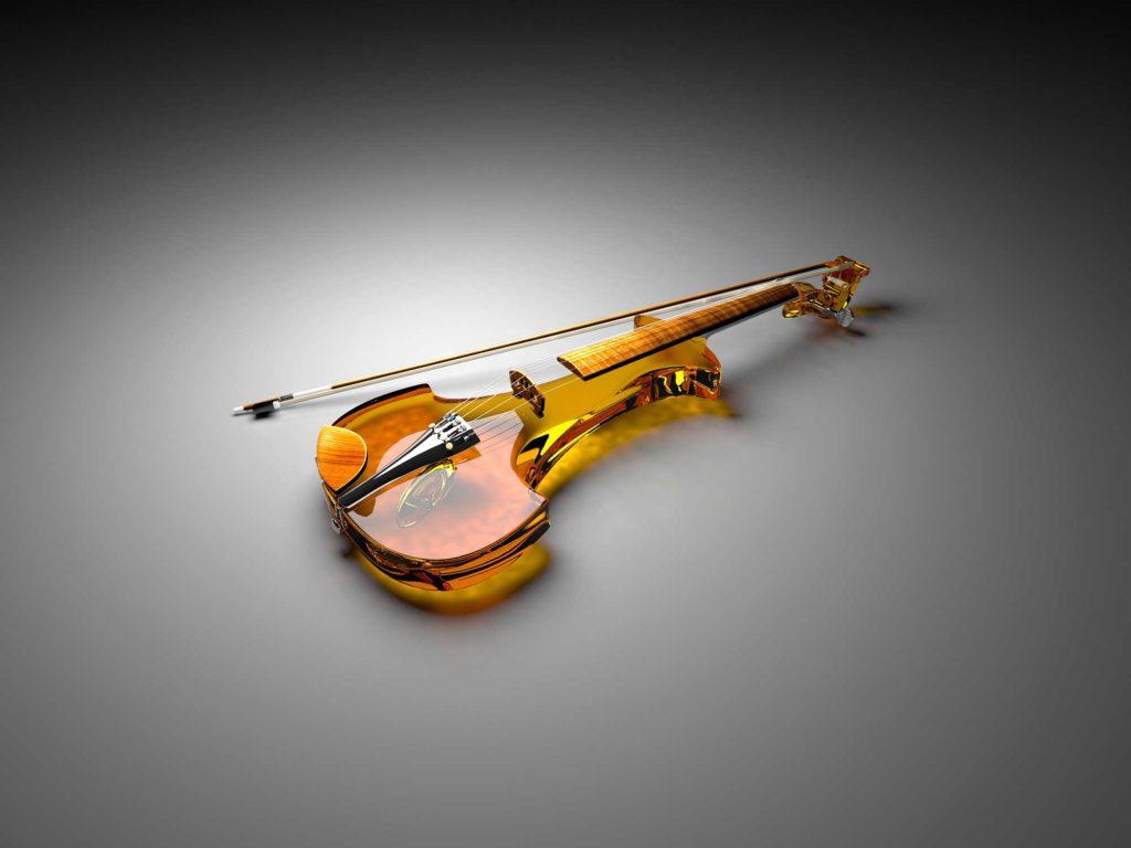 Стеклянные электронные инструменты - скрипка